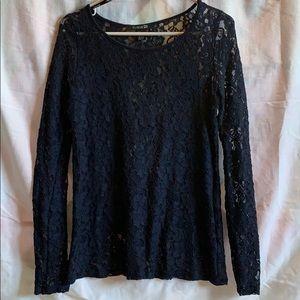 Forever 21 Navy Blue Long Sleeve Shirt : Women's S